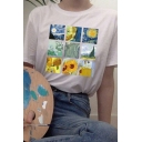 Leisure Womens Spoof Van Gogh Graphic Short Sleeve Round Neck Relaxed T Shirt in White