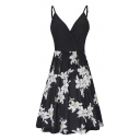 Popular Womens Leopard Flower Print Patched Spaghetti Straps Short Pleated A-line Cami Dress