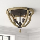 Khaki Bowl Frame Flushmount Light Farmhouse Wood 4 Bulbs Drawing Room Semi Flush Mounted Lamp