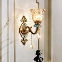 Bronze 1-Head Wall Mounted Light Traditional Umber Crystal Floral Wall Lamp for Bedside