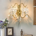 2 Heads Crystal Drip Wall Lighting Idea Traditional Gold Finish Branch Bedroom Wall Sconce