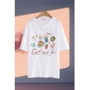 Fashion Girls Letter Eat Not Fat Cartoon Graphic Half Sleeve Round Neck Loose Long T Shirt
