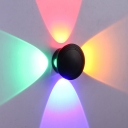 Petals 4-Way Wall Sconce Modernist Aluminum Black LED Wall Mounted Light in RGB Light