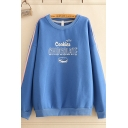 Stylish Womens Tape Panel Letter Cookies Chocolate Graphic Long Sleeve Round Neck Oversize Pullover Sweatshirt