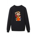 Cool Mens Cartoon Character Pattern Pullover Long Sleeve Round Neck Regular Fitted Sweatshirt