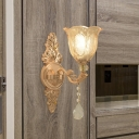 Gold Finish 1/2-Head Wall Light Mid Century Clear Crystal Glass Flower Shade Up Wall Lamp Fixture