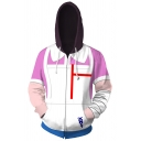 Popular Boys Geo Bow Tie Button 3D Print Contrast Long Sleeve Drawstring Zip-up Relaxed Fit Hoodie