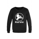 Fancy Mens Character Pattern Letter Karate Long Sleeve Round Neck Regular Fitted Graphic Pullover Sweatshirt