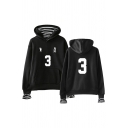 Preppy Looks Number Footprint Stripe Graphic Long Sleeve Drawstring Patched Loose Hoodie with Pocket