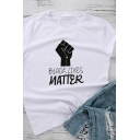 Chic Girls Letter Black Lives Matter Fish Graphic Rolled Short Sleeve Crew Neck Slim Fit T-shirt