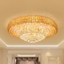 Cut K9 Crystal Clear Ceiling Lamp 2-Tier Tapered Contemporary LED Flushmount Lighting for Hall