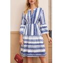 Ethnic Womens Geometric Print Bell Sleeve V-neck Mid A-line Dress in Blue