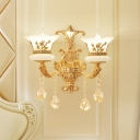 1/2-Bulb Wall Sconce Lighting Traditional Bedside Wall Lamp with Flared Opal Frosted Glass Shade, Gold