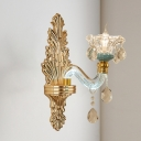 Clear Carved Glass Gold Sconce Ruffle-Trimmed Flared 1 Head Traditional Wall Mount Light Fixture for Living Room