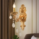 Gold Candle Sconce Light Fixture Traditional Metal 1-Light Living Room Wall Lighting Ideas