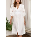 Stylish Womens Hollow out Blouson Sleeve V-neck Button up Mid A-line Dress in White