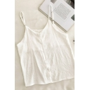 Chic Womens Solid Color Button Down Scoop Neck Sleeveless Relaxed Fit Cami Top
