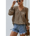 Fancy Ditsy Floral Print Blouson Sleeve Surplice Neck Relaxed Fit Blouse Top for Ladies
