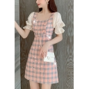 Pretty Ladies Plaid Printed Puff Sleeve Square Neck Button Detail Short A-line Dress in Pink