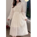 Glamorous Womens Solid Color Sheer Mesh Flower Embroidery Long Sleeve V-neck Ruffled Trim Pearl Button Mid Pleated A-line Dress