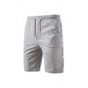 Stylish Mens Side Letter Tongtouy Pattern Drawstring Knee Length Fitted Shorts with Pockets
