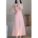 Pretty Ladies Stringy Selvedge Short Sleeve Peter Pan Collar Button down Maxi A-line Dress in Pink