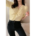 Girls Popular Plain Puff Sleeve V-neck Ruched Relaxed Fit Blouse Top
