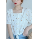 Fashionable Girls Allover Daisy Floral Embroidery Button up Drawstring Hem Relaxed Crop Blouse