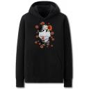Fancy Mens Character Mask Virus Pattern Pocket Drawstring Long Sleeve Regular Fit Hooded Sweatshirt