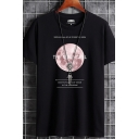 Unique Graphic Moon Letter the Mooncell Eights Plants of Moon in the Universe Pattern Logo Short Sleeve Round Neck Regular Fit Top Tee for Men