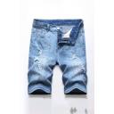 Light Blue Cool Men's Splash-ink Zip Fly Button Distressed Light Wash Longline Regular Fit Denim Shorts with Pockets