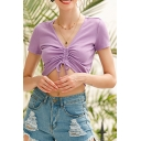 Ladies Basic Short Sleeve V-neck Drawstring Front Slim Fitted Cropped T-shirt in Purple