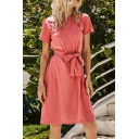 Popular Womens Short Sleeve Round Neck Bow Tied Waist Midi A-line T Shirt Dress in Pink