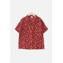 Red Summer Womens Ditsy Floral Printed Button Up Lapel Collar Short Sleeve Oversized Tunic Shirt