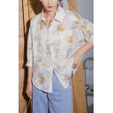 Chic Womens Floral Printed Pocket Button Down Collar 3/4 Sleeve Loose Fit Shirt in Apricot