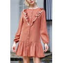 Fashion Womens Ruffle Lace Trimmed Long Sleeve Button down Crew Neck Short A-line Dress in Brick Red