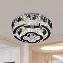 Stainless-Steel Ring and Floral Flushmount Modernist LED Crystal Semi-Flush Ceiling Light