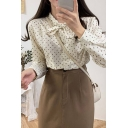 Ditsy Floral Pattern Long Sleeve Bow Tied Neck Button down Relaxed Fit Pretty Shirt