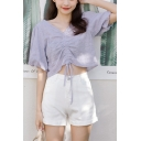 Sexy Womens Solid Color Floral Embroidery Print Cut Out Ruched Drawstring V Neck Short Puff Sleeve Slim Fit Cropped Shirt