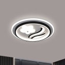 Black Circle Ultra-Thin Flushmount Modernism Acrylic LED Ceiling Light Fixture with Flower Pattern