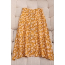 Gorgeous Girls Ditsy Floral Print Button Down Side Zip High Rise Midi A Line Skirt in Yellow