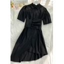 Creative Girls Solid Color Button Down Detail Asymmetric Belt Pleated Collared Short Sleeve Midi T Shirt Dress