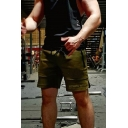 Mens Stylish Letter Fitness Wolf Printed Zipper Drawstring Side Slits Mid Thigh Slim Sweat Shorts