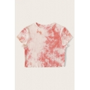 Fancy Girls Tie Dye Print Knitted Short Sleeve Crew Neck Fit Cropped T-shirt in Pink