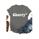 Simple Letter Cherry Graphic Short Sleeve Crew Neck Slim Fit T Shirt for Girls