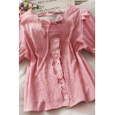 Popular Girls Solid Color Button Down Crochet Lace Trim Tie Square Neck Short Puff Sleeve Regular Fit Blouse Top