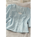 Rustic Womens Leaves Printed Button Down Square Neck Short Sleeve Relaxed Fit Crop Blouse