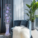Purple LED Stand Up Lamp Art Deco Aluminum Wire Lotus and Vase Floor Lighting for Bedside in White/Warm Light