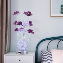 Metallic Wire Red/Purple Night Table Lamp Lotus and Vase Art Deco LED Nightstand Light in White/Warm Light