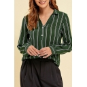 Elegant Ladies Stripe Printed Long Sleeve Turn down Collar Button up Relaxed Shirt Top in Green